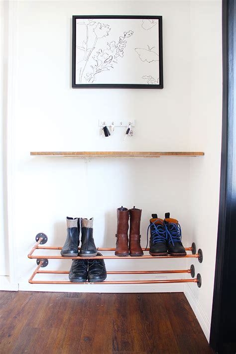 hometalk organizing   copper shoe rack