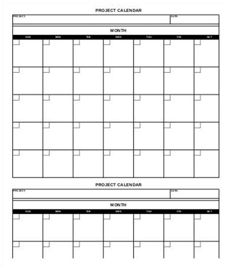 project calendar template   word  documents