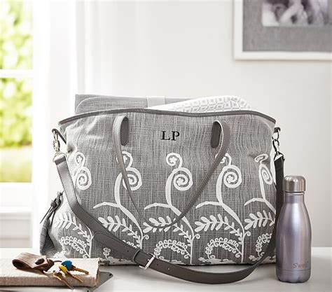 gray embroidered diaper tote pottery barn kids