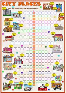 City Places Crossword Puzzle With Key  Esl Worksheet Of