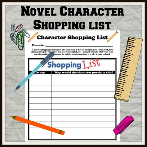 character shopping list  images