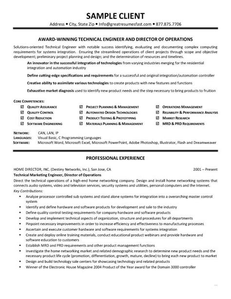 Technical Sales Resume Format by 17 Best Ideas About Objectives Sle On