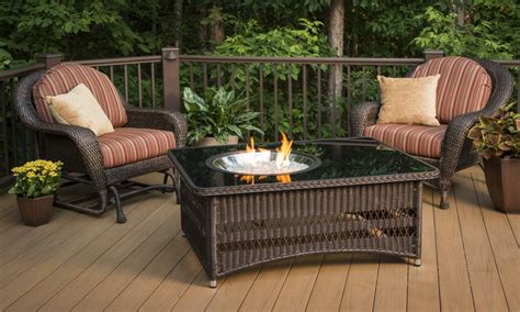 firepit wood table gas fire pit  deck tuscany gas fire