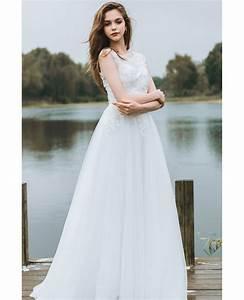 simple lace a line boho beach wedding dress long tulle With long dresses for beach wedding