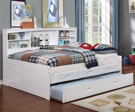 white full size bookcase captains day bed  trundle