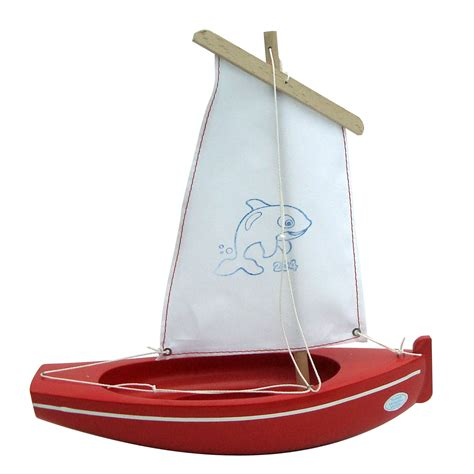 Sailing Boat Toy by Small Toy Boat 204 Whale Red 26cm Little French