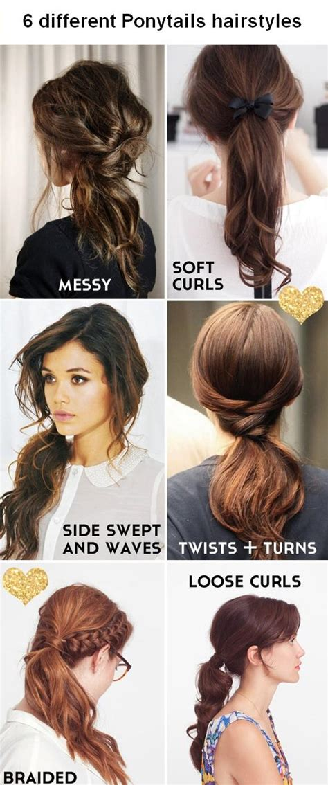 6 different Ponytails hairstyles
