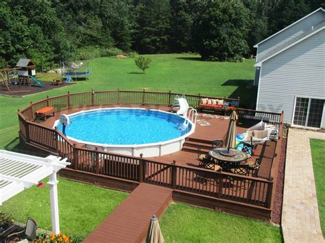 Backyard Swimming Pools Above Ground by Pool Deck Ideas Deck The Pool Factory