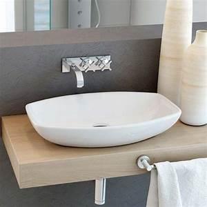 vasque a poser ovale 60x38 cm ceramique oviedo With vasque salle de bain ovale