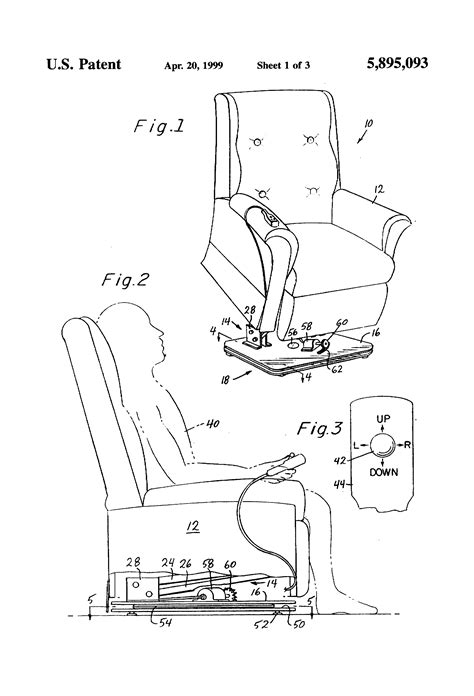 patent us5895093 recliner lift chair with swivel base