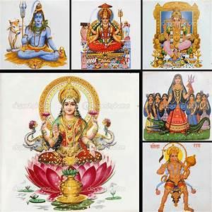Collage with hindu gods ( Lakshmi, Hanuman,Shiva,Parvati ...