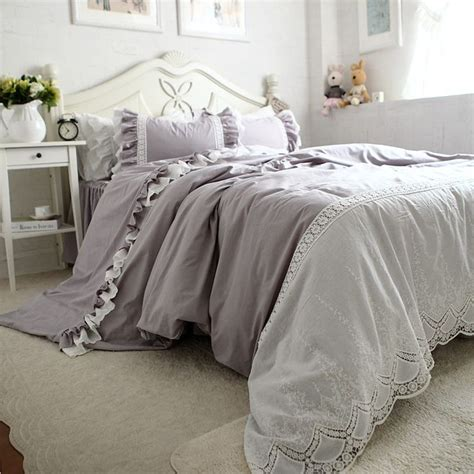 Lace Coverlet Bedding by Grey Luxury Bedding Set Embroidery Lace Duvet Cover Satin