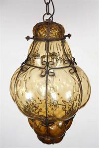 Vintage hand blown seguso murano amber glass cage pendant