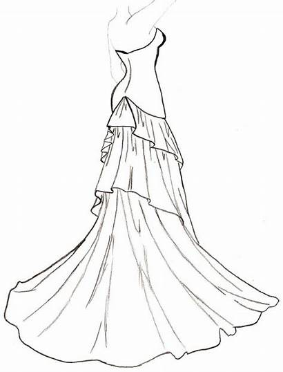 Outline Drawing Coloring Pages Dresses Clipart Line