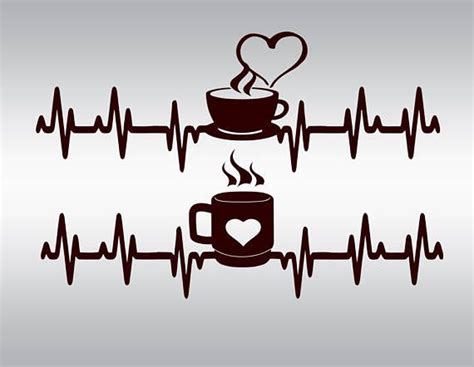 heartbeat strip coffee svg clipart cut files silhouette cameo  images silhouette cutting