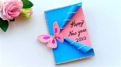beautiful handmade happy  year  card idea diy