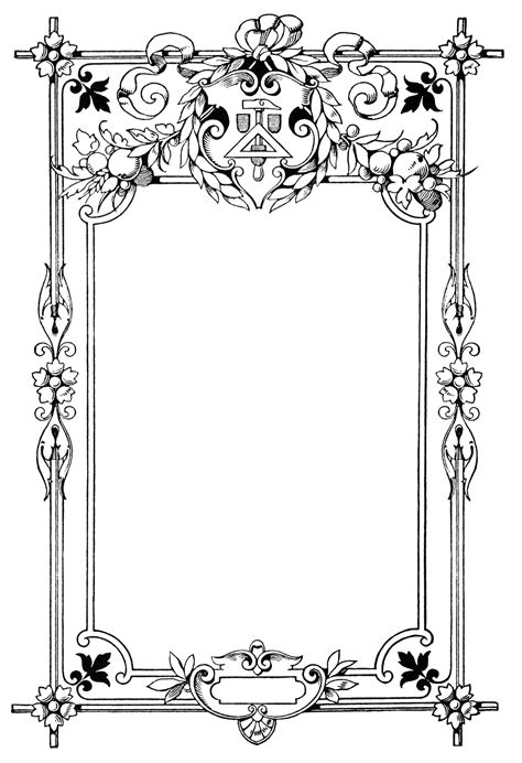 vintage frame clip art swirly ornate illustration black