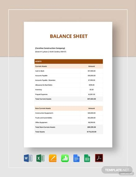 simple balance sheet template   sheets