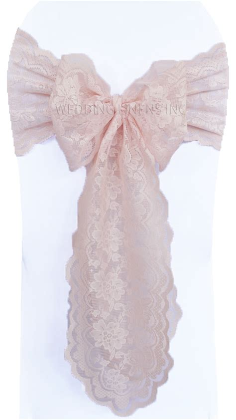 blush pink lace wedding chair sashes lace chair bow ties