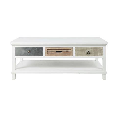 table basse en bois blanche l 120 cm ouessant maisons du monde