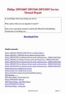 Philips 29pt6807 29pt560 29pt5507 Service Manual Repair By