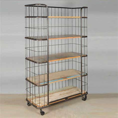 rolling shelf rack industrial wood iron rolling storage book shelves