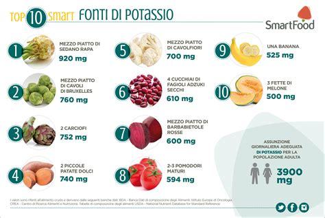 alimenti ricchi  potassio