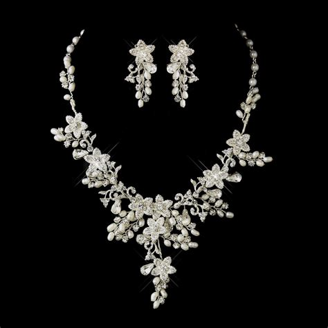 Wedding Jewelry by Silver Ivory Pearl Rhinestone Floral Bridal Necklace