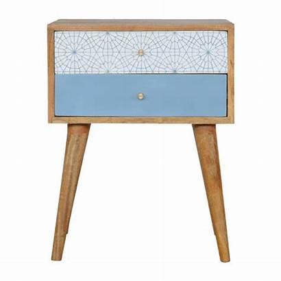 Solid Wood Bedside Table Scandinavian Patterned Screen