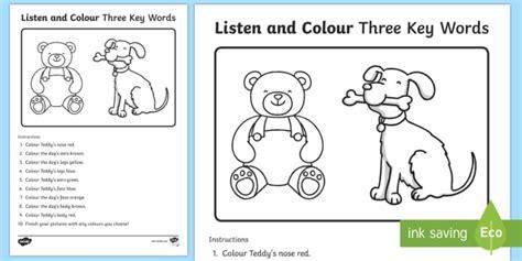 Listen And Colour Three Key Words Worksheet / Activity Sheet