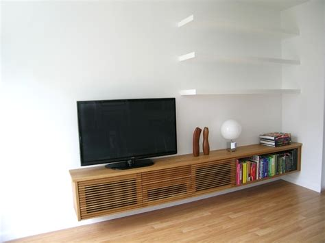 Floating Media Cabinet And Shelves-contemporary-living