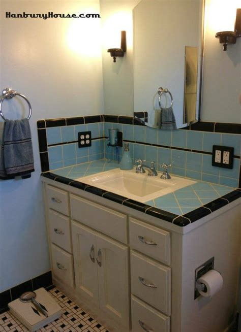 retro blue tile bathroom designed  looked