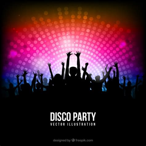 drop light led disco poster with silhouettes vector free