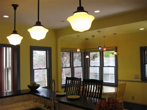 ktichen with pendants and schoolhouse lights Centers And