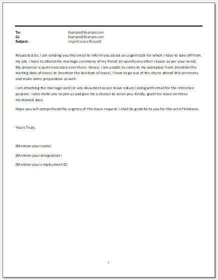 leave request email  boss template microsoft word