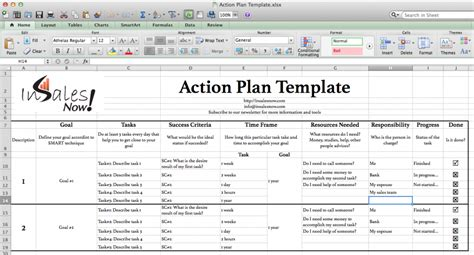 action plan template  sales