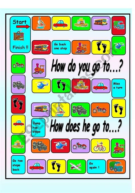 Asking And Answering Questions About Transportation Board Game  Esl Worksheet By Mariong