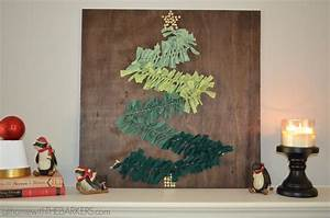 Diy christmas tree wall art on mantel at home with the