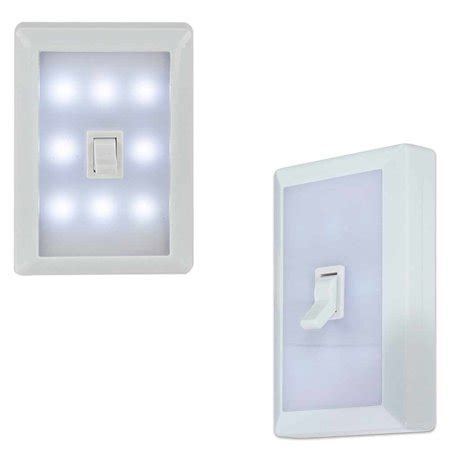 8 led peel stick switch cover wall night light white tool