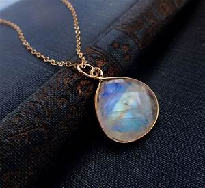 moonstone jewelry, LARGE moonstone pendant necklace, Blue ...