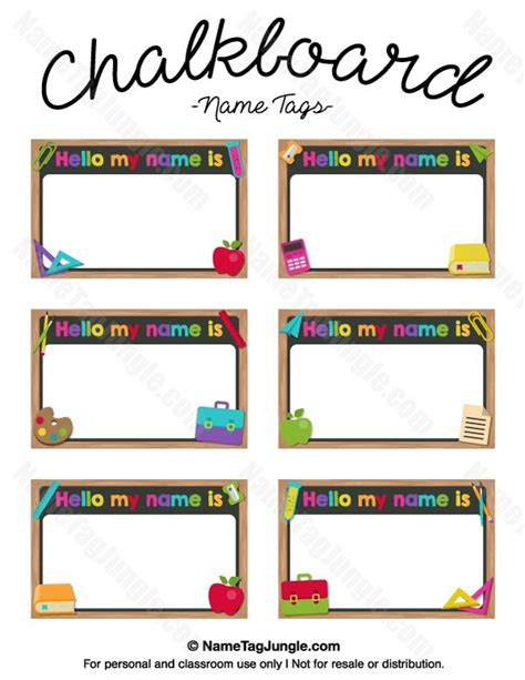 Name Tag Template Free Printable Chalkboard Name Tags The Template Can Also