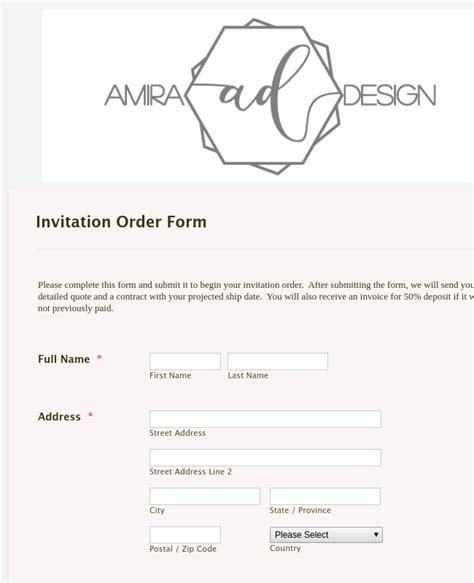 Design Wedding Invitation Order Form Template JotForm