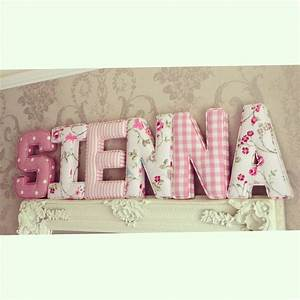 Fabric letters personalised initial name baby room for Fabric letters for baby room