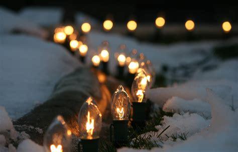 Snow Lights by Light Bulbs Lights Macro Snow Winter Wallpaper