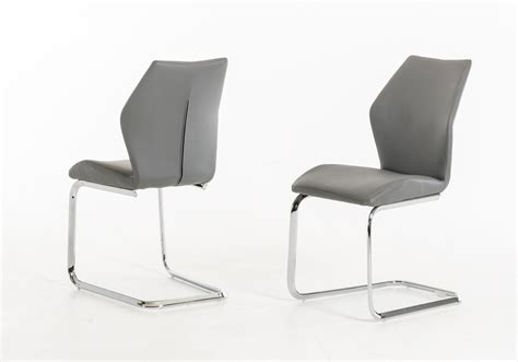 welles modern grey leatherette dining chair set of 2
