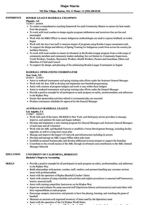 baseball resume samples velvet jobs