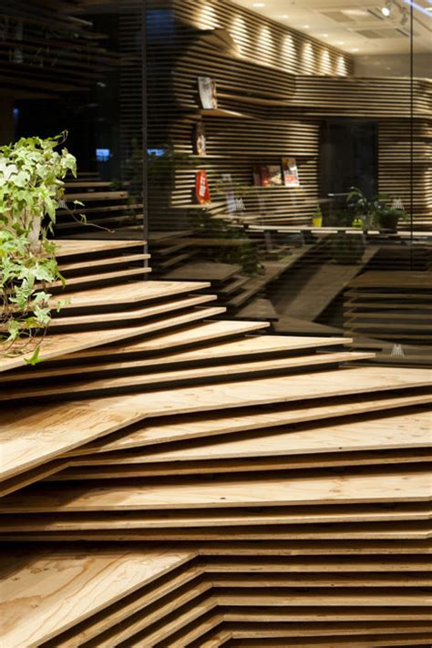 kengo kuma stacks wooden layers  office  cafe pair