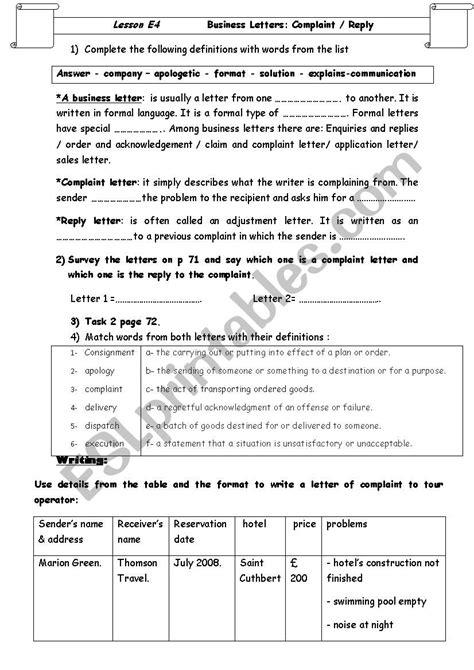 Lesson E4: Business Letters complaint/reply - ESL