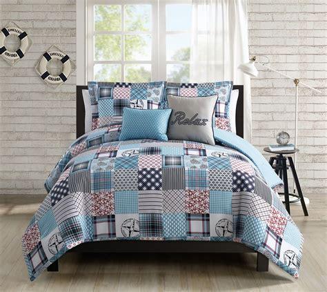 bedding quilt sets 5 coastal patchwork reversible comforter set Coastal
