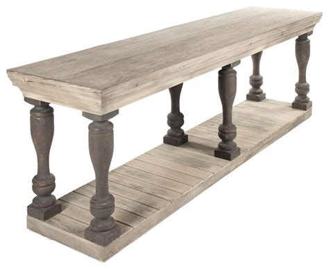 bartow masculine french country rustic baluster long console table traditional console